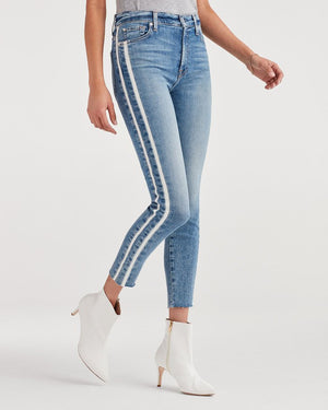 Ankle Skinny with Cut Off Hem and Double White Stripes