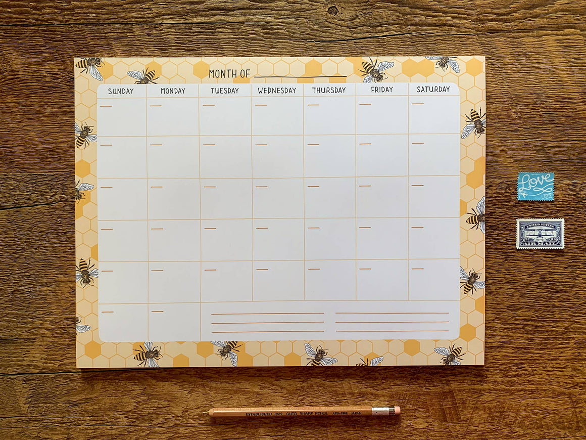Monthly Desk Planner- Bees