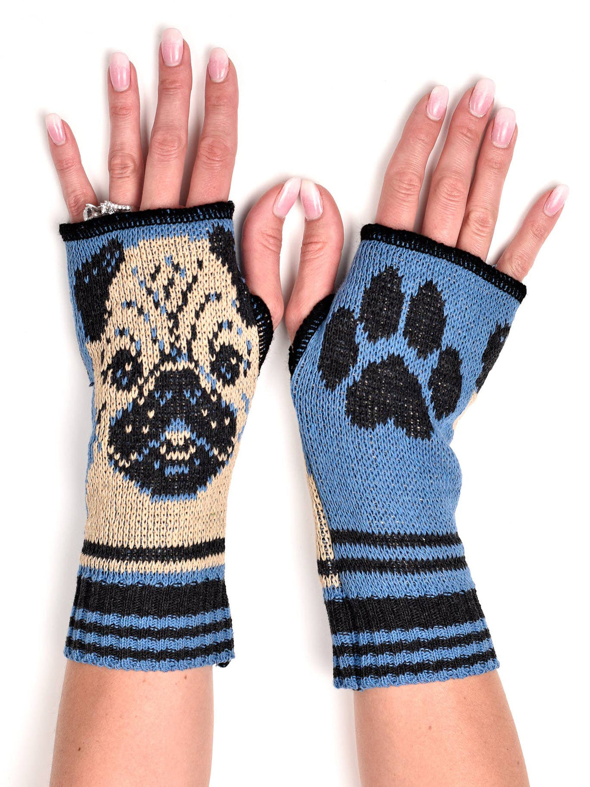 Hand Warmer Fingerless Gloves - Pug
