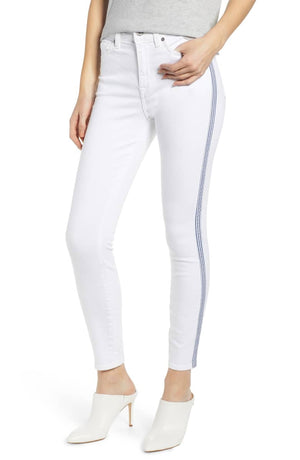 Side Stripe High Waist Ankle Skinny