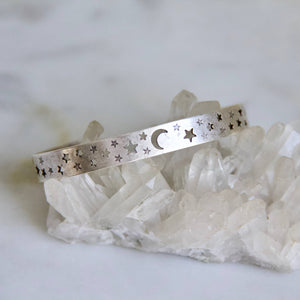 Moon and Stars Crescent Bracelet - Silver