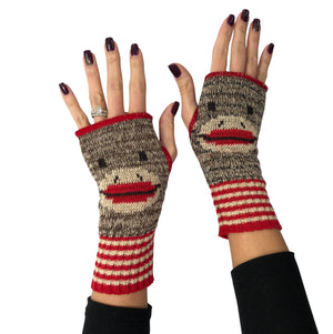 Hand Warmer Fingerless Gloves - Sock Monkey
