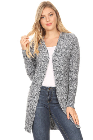 Boucle Two-Tone Long Sleeve Cardigan