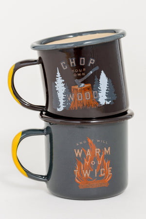 Chop Your Own Wood Enamel Mini Mugs