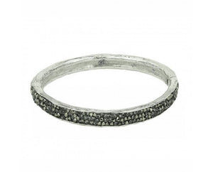Krystal Hinge Bangle - White Bronze