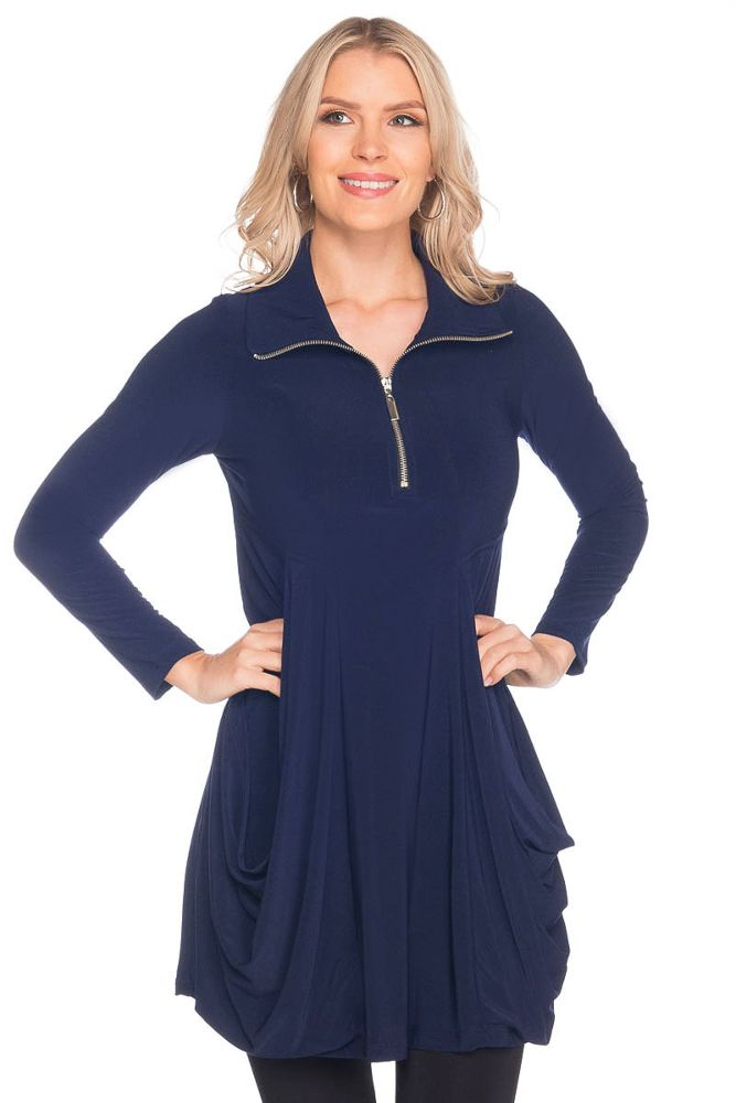 Long Sleeve Zipper Trim Tunic