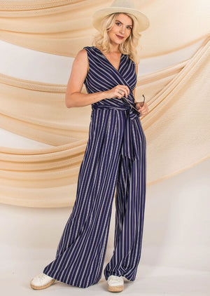 Navy White Striped Jumpsuit