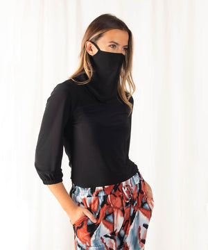3/4 Sleeve Top w/ Cowl Facemask