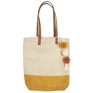 Two toned jute tote:  Mustard/tan