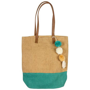 Two toned jute tote:  Teal/Natural