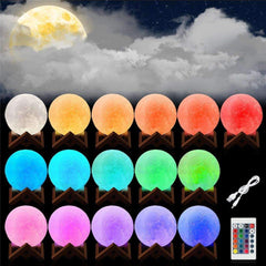 16 Colors Rechargeable LED Moon Lamp