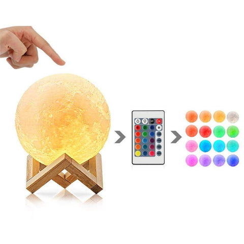 GearSupermart:16 Colors Rechargeable LED Moon Lamp