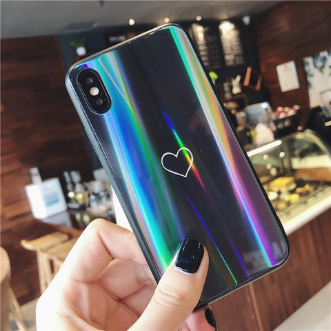 GearSupermart:Rainbow Heart Tempered Glass Iphone Case:[variant-title]