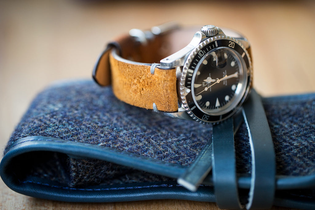2 Watch Fold - Herringbone Harris Tweed Navy Leather