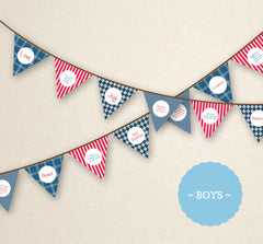HALF PRICE RED/BLUE Bunting Flags - Fruit of the Spirit