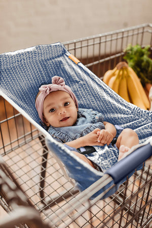 Baby Shopping Cart Hammock - Blue Little Arrow Design