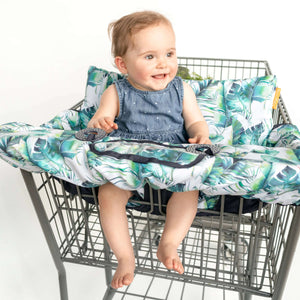 Baby Shopping Cart Cover - Tropical Day Leaf Print - happy baby