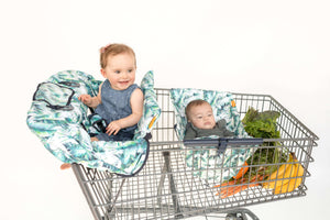 Baby Shopping Cart Cover - Tropical Day Leaf Print - cart cover and hammock with room for groceries