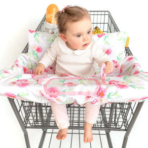 Baby Shopping Cart Cover - Full Bloom Watercolor Floral Print - happy baby