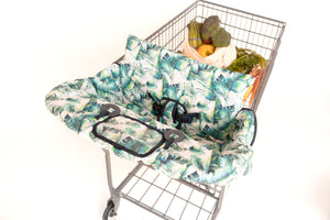 Baby Shopping Cart Cover - Tropical Day Leaf Print - plastic pouch with attached toy rings