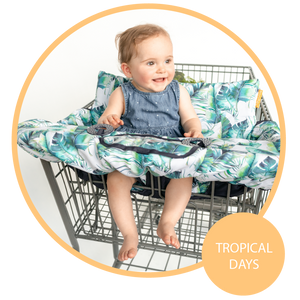 Baby Shopping Cart Cover - Tropical Day Leaf Print