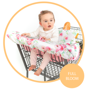 Baby Shopping Cart Cover - Full Bloom Watercolor Floral Print
