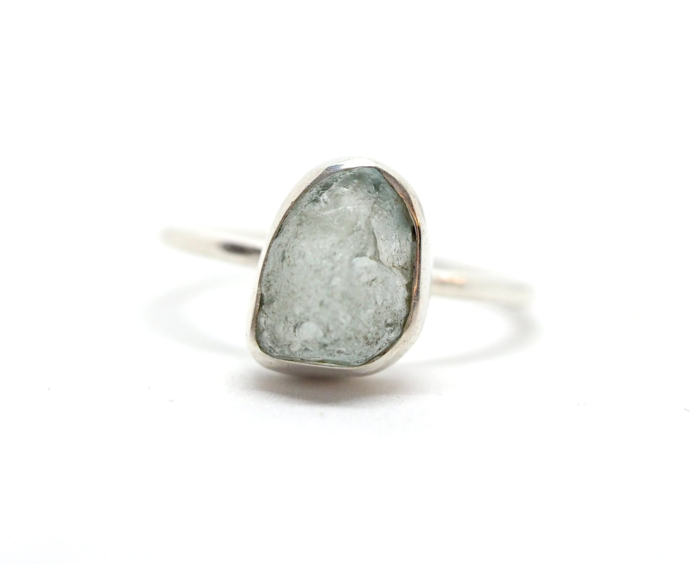 Raw Aquamarine thin band ring. - Celeste Twikler