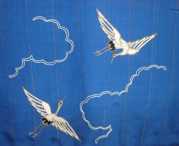 Vintage Japanese Child's Silk Vest w/ Embroidered Cranes