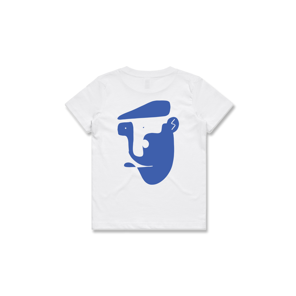 KIDS CHEESE CUTTER TEE (WHITE + BLUE)