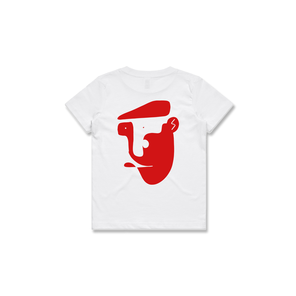 KIDS CHEESE CUTTER TEE (WHITE + RED)