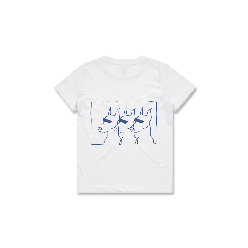 KIDS DOGS TEE (WHITE + BLUE)
