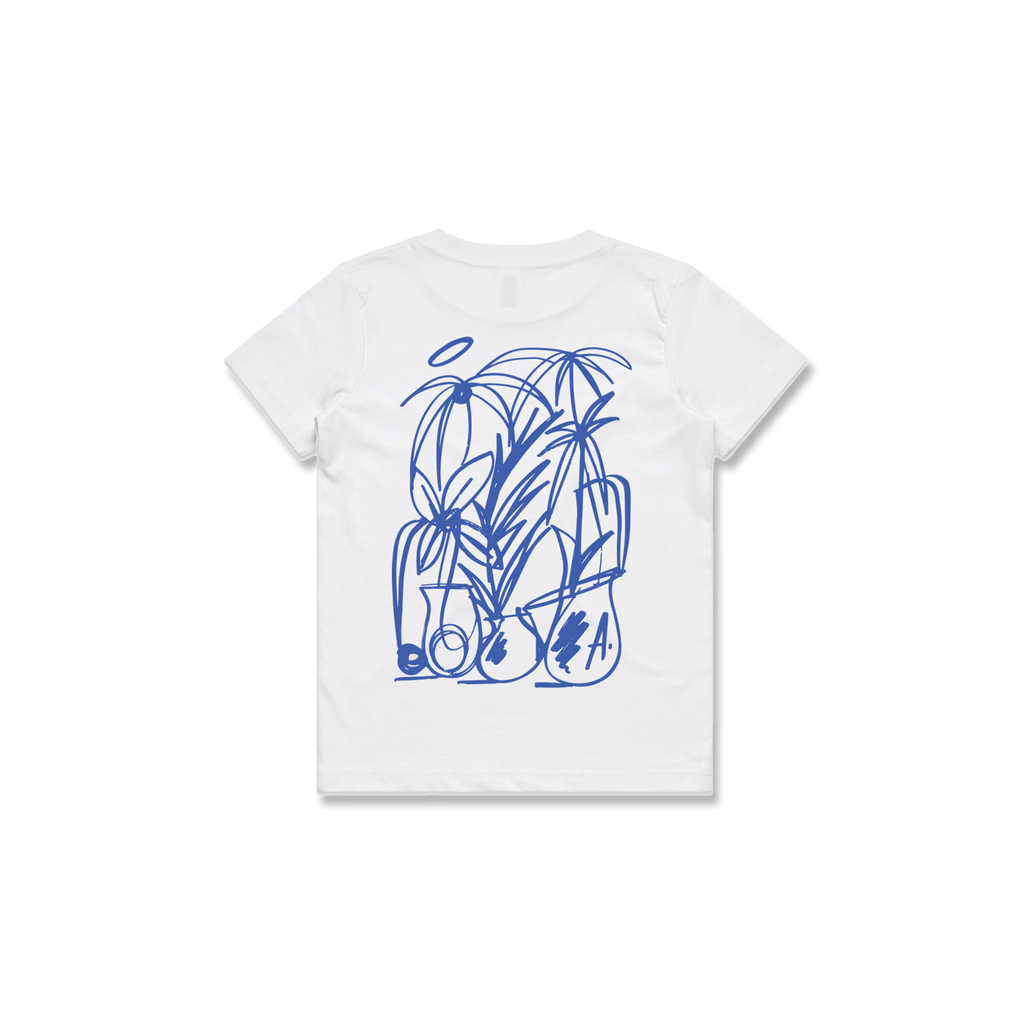 KIDS PLANTS TEE (WHITE + BLUE)
