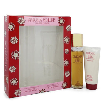 Diamonds and Rubies By Elizabeth Taylor Gift Set -- 3.3 Oz Eau De Toilette Spray + 3.3 Oz Body Lotion For Women