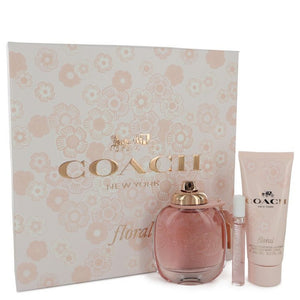 Coach Floral By Coach Gift Set -- 3 Oz Eau De Parfum Spray + .25 Oz Mini Edp Spray + 3.3 Oz Body Lotion For Women