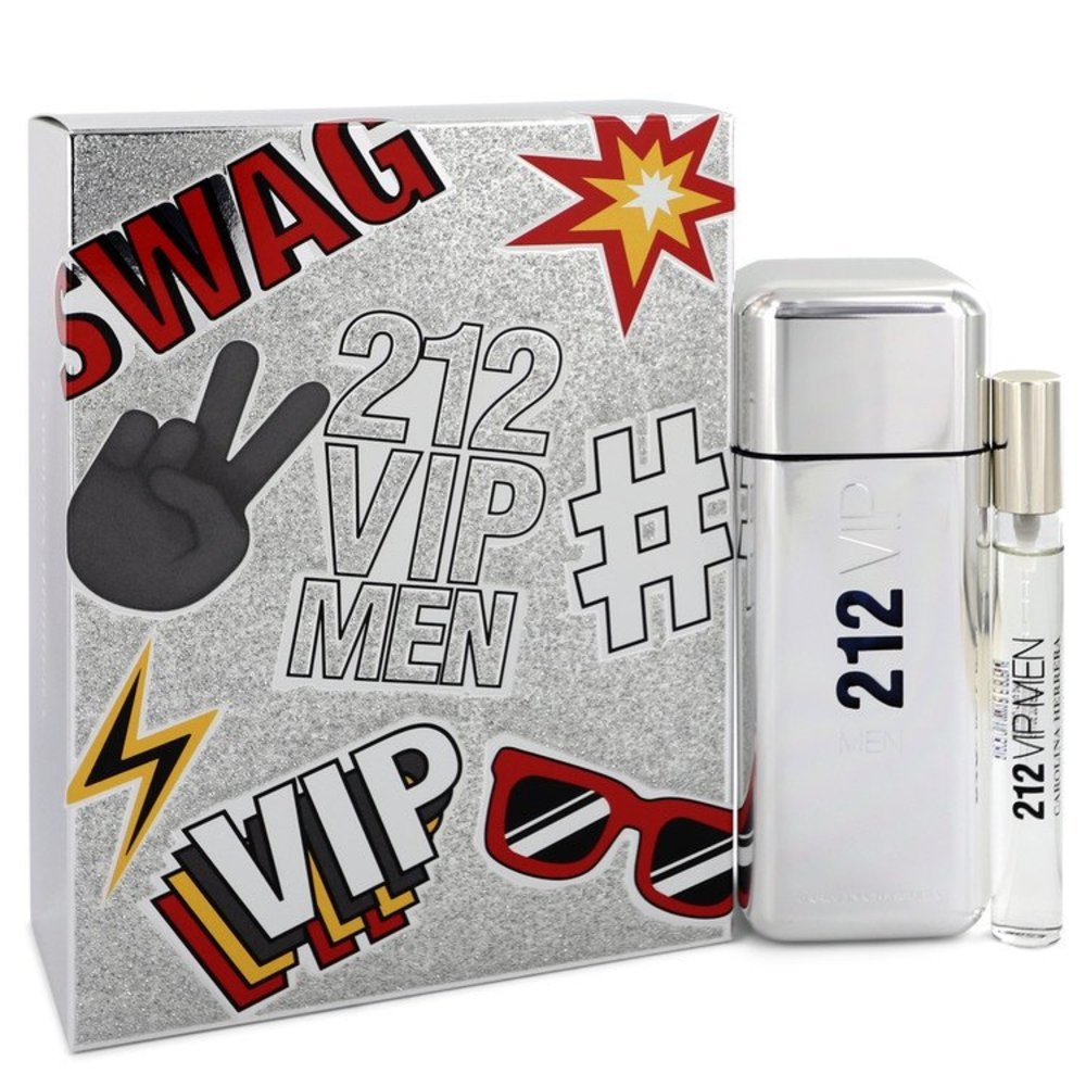 212 Vip By Carolina Herrera Gift Set -- 3.4 Oz Eau De Toilette Spray + .34 Oz Mini Edt Spray For Men