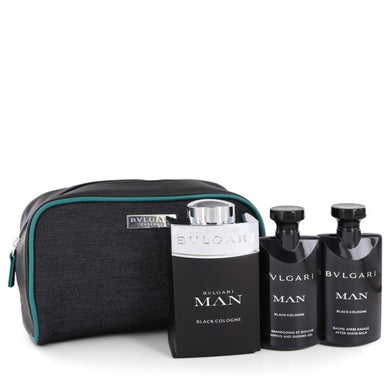 Bvlgari Man Black Cologne By Bvlgari Gift Set -- 3.4 Oz Eau De Toilette Spray + 2.5 Oz After Shave Balm + 2.5 Oz Shower Gel In Pouch For Men
