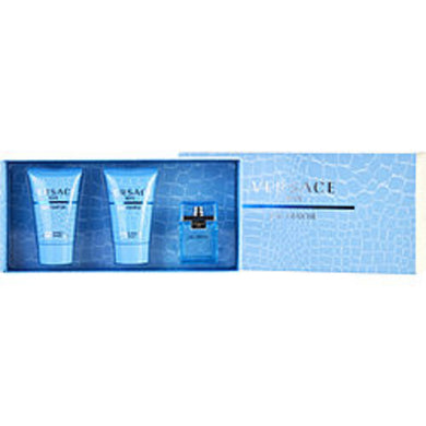 Versace Man Eau Fraiche Edt .17 Oz Mini and Aftershave Balm .8 Oz and Shower Gel .8 Oz For Men