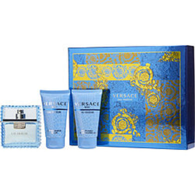 Versace Man Eau Fraiche Edt Spray 1.7 Oz and Aftershave Balm 1.7 Oz and Shower Gel 1.7 Oz For Men
