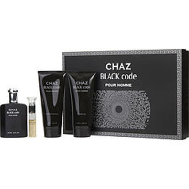 Chaz Black Code Eau De Parfum Spray 3.3 Oz and Aftershave Balm 6.8 Oz and Shower Gel 6.8 Oz and Eau De Parfum Spray .5 Oz For Men
