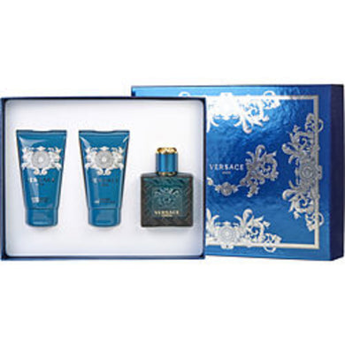 Versace Eros Edt Spray 1.7 Oz and Aftershave Balm 1.7 Oz and Shower Gel 1.7 Oz For Men