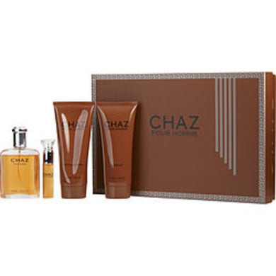 Chaz Eau De Parfum Spray 3.3 Oz and Aftershave Balm 6.8 Oz and Shower Gel 6.8 Oz and Eau De Parfum Spray .5 Oz For Men