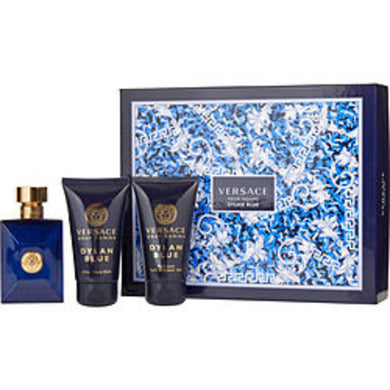 Versace Dylan Blue Edt Spray 1.7 Oz and After Shave Balm 1.7 Oz and Shower Gel 1.7 Oz For Men