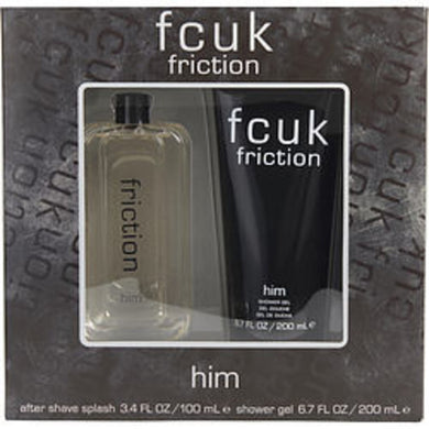 Fcuk Friction Aftershave Splash 3.4 Oz and Shower Gel 6.7 Oz For Men