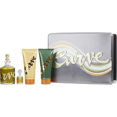 Curve Cologne Spray 4.2 Oz and Cologne .25 Oz Mini and Aftershave Balm 3.4 Oz and Shower Gel 3.4 Oz For Men