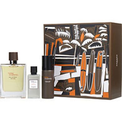 Terre D'hermes Eau Intense Vetiver Eau De Parfum Spray 3.3 Oz and Aftershave Lotion 1.35 Oz and Shaving Foam 1.7 Oz For Men