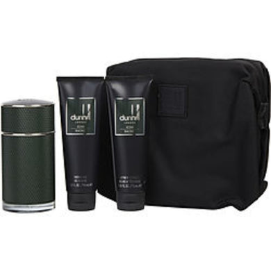 Dunhill Icon Racing Eau De Parfum Spray 3.4 Oz and Aftershave Balm 3 Oz and Shower Gel 3 Oz and Toiletry Bag For Men