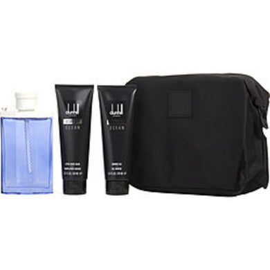 Desire Blue Ocean Edt Spray 3.4 Oz and Aftershave Balm 3 Oz and Shower Gel 3 Oz and Toiletry Bag For Men