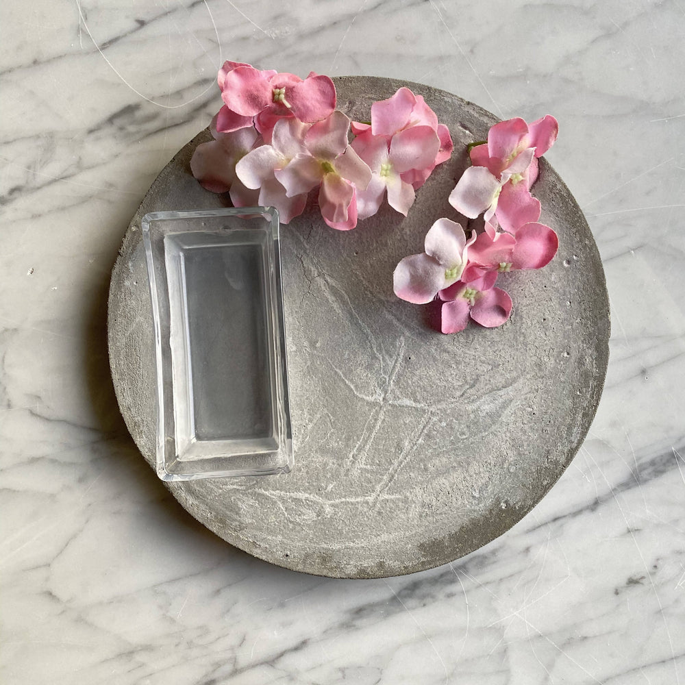 Pink Floral Concrete Tray