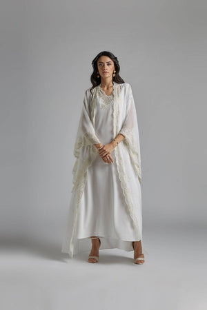 Silk Chiffon Off White Robe Set - Diana