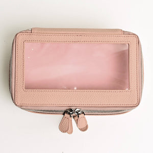 Small Clear Toiletry Case in Dusty Rose
